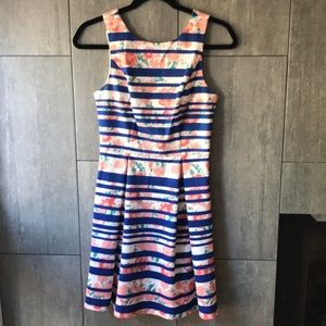 Pixley blue and coral floral dress